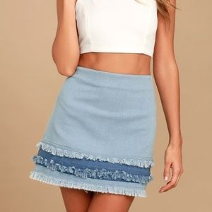 Lulu's Like A Dream Light Wash Denim Mini Skirt